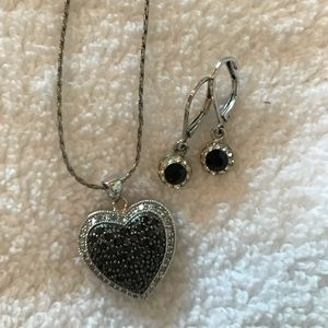 Black and silver heart necklace and earrings